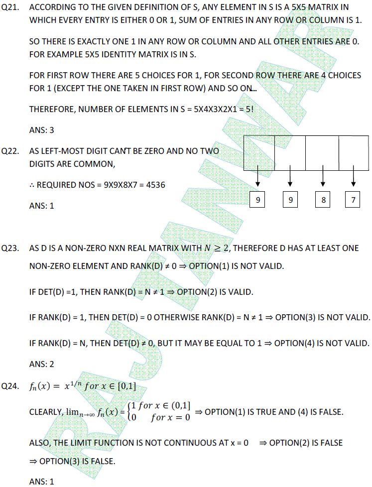 Math NET June 2011 Part-B(Q21-24) | Raj Tanwar