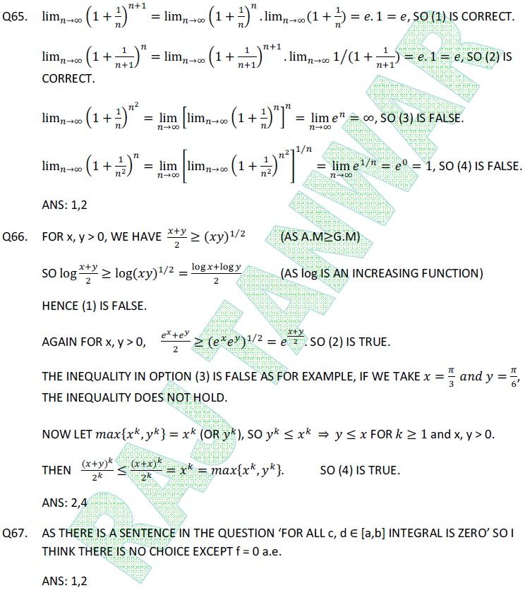 Math NET June 2012 Part-C(Q65-67) | Raj Tanwar